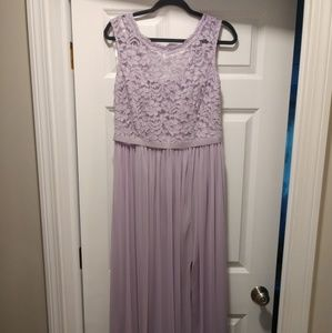 David's Bridal F19328 purple bridesmaid dress